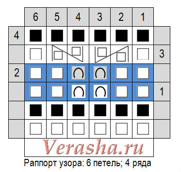 схема вязания простого двухцветного узора