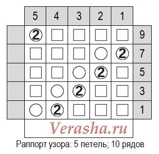 схема ажурного узора по диагонали